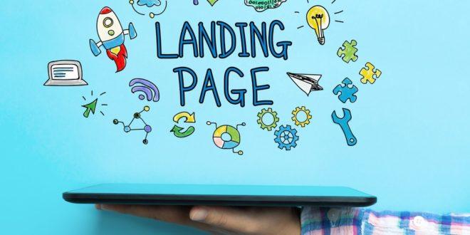 texto landing page con mano sosteniendo tablet
